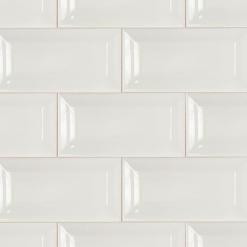 Basic 3x6 Beveled White Ceramic Tile
