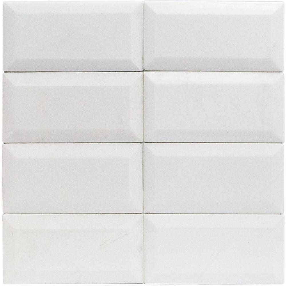 White Thassos 3x6 Beveled Marble Tile