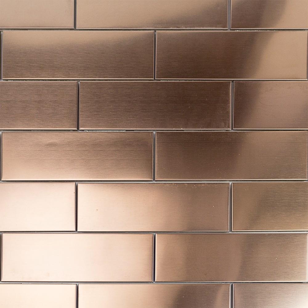 Shop 12 Pc. Set Metal Subway Tiles In Matte Copper