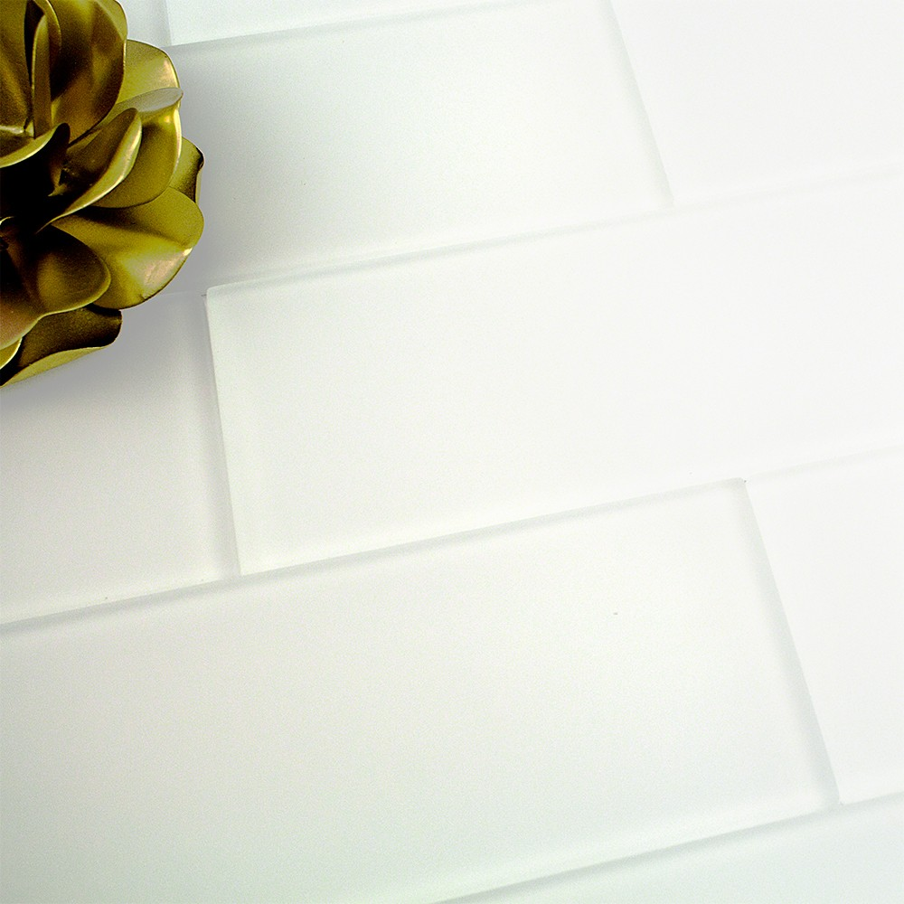 Shop For Loft Super White Frosted 4 X 12 Glass Tiles At