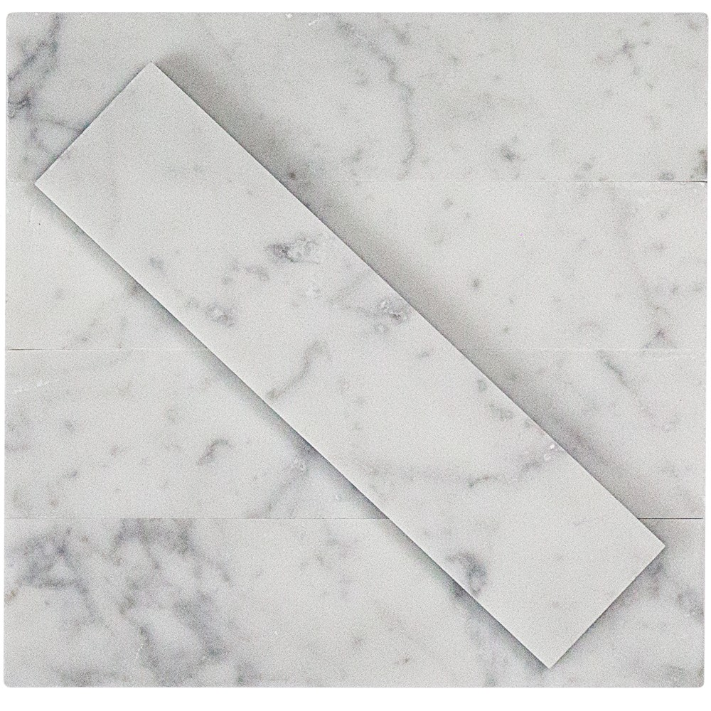 Brushed Stone White Carrera 2x8 Marble Tile