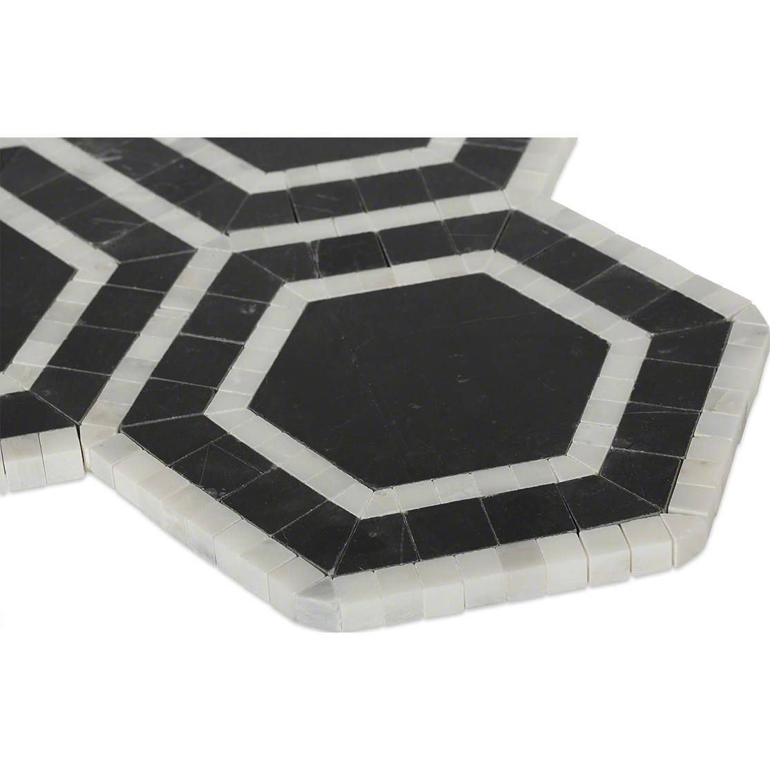 Shop 12 x 12 Nova Black Hole Hexagons Polished Marble Tile ...