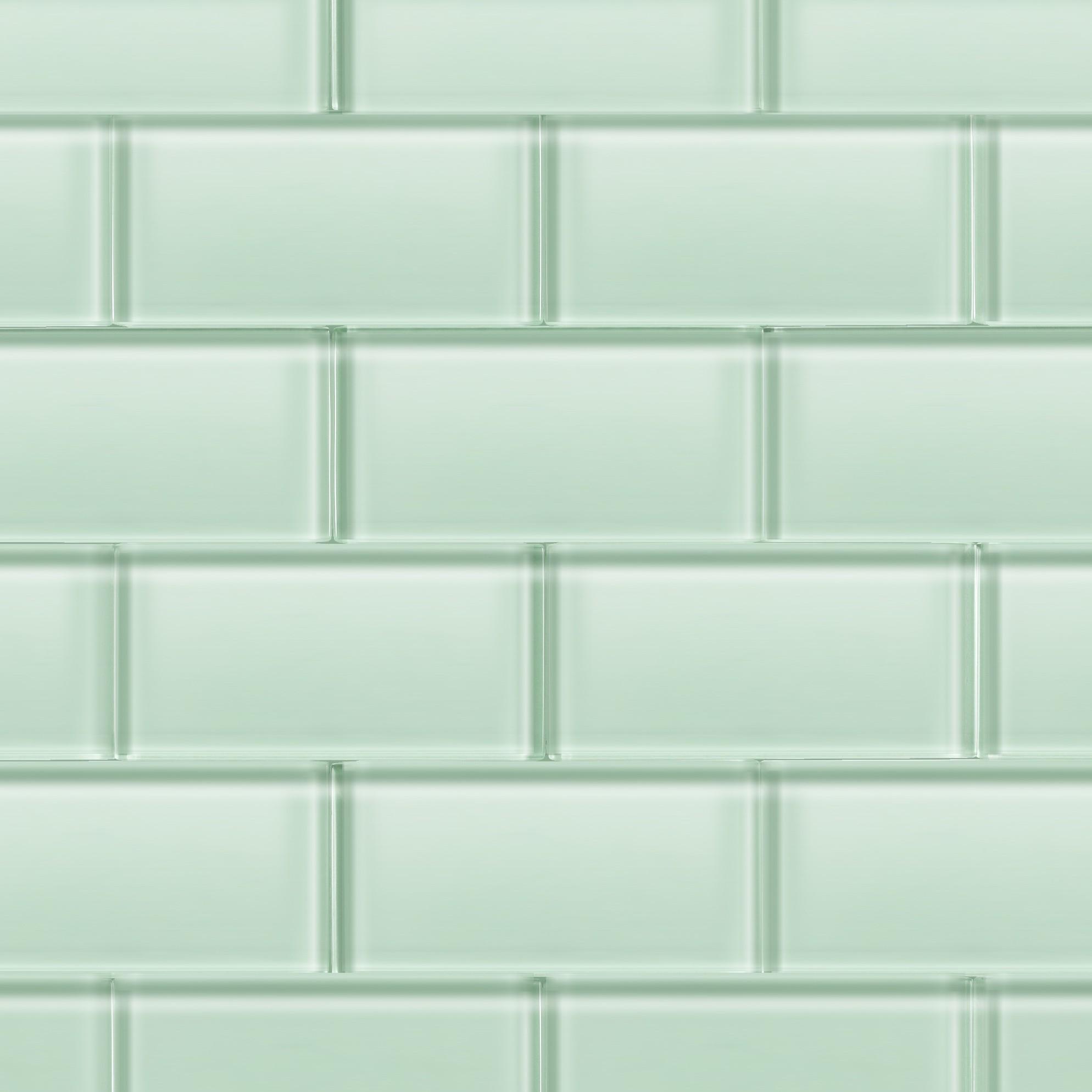 Kitchen Subway Tile Backsplashes Loft Seafoam Polished 3x6 Glass Tile