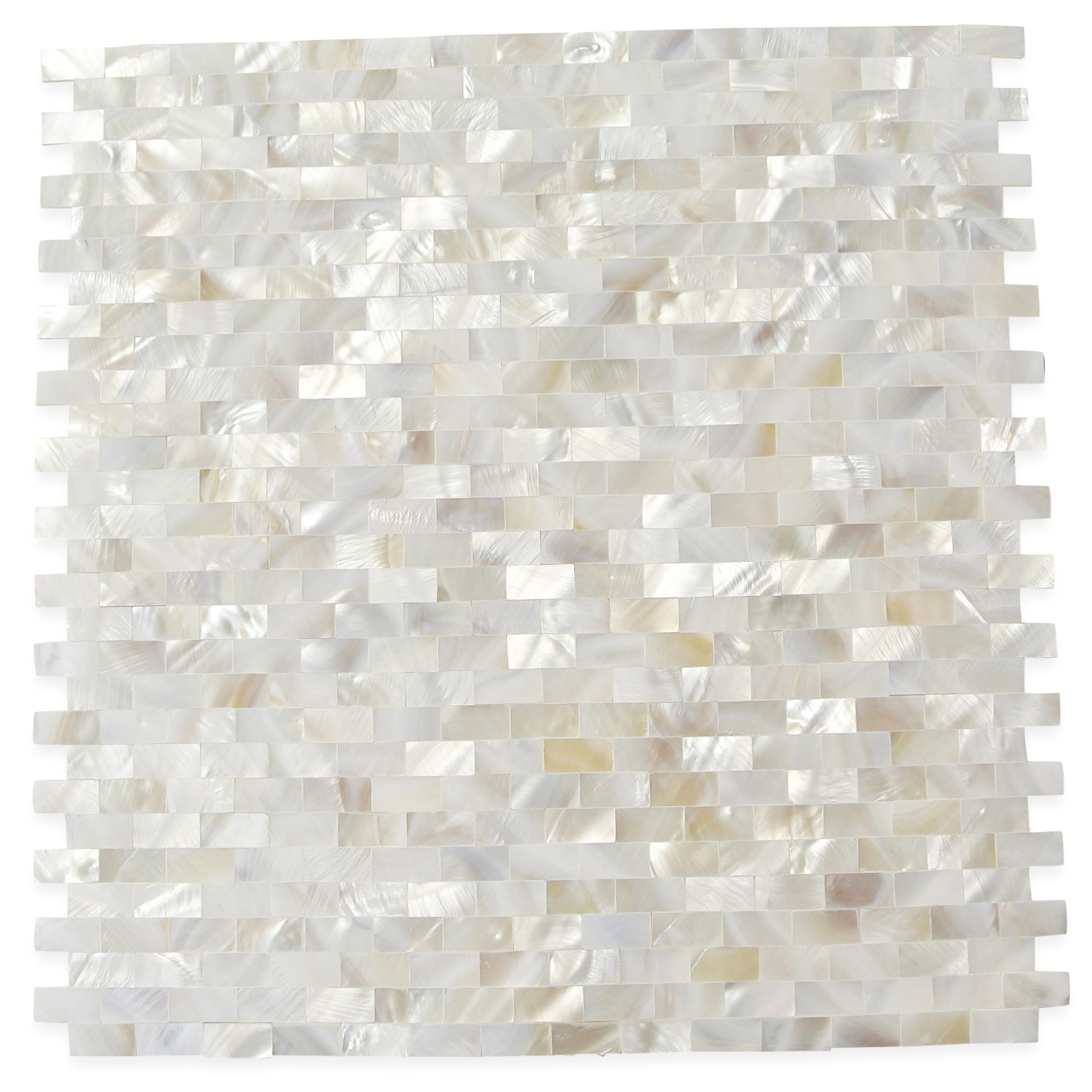 Serene White Bricks Seamless Pearl Shell Tile