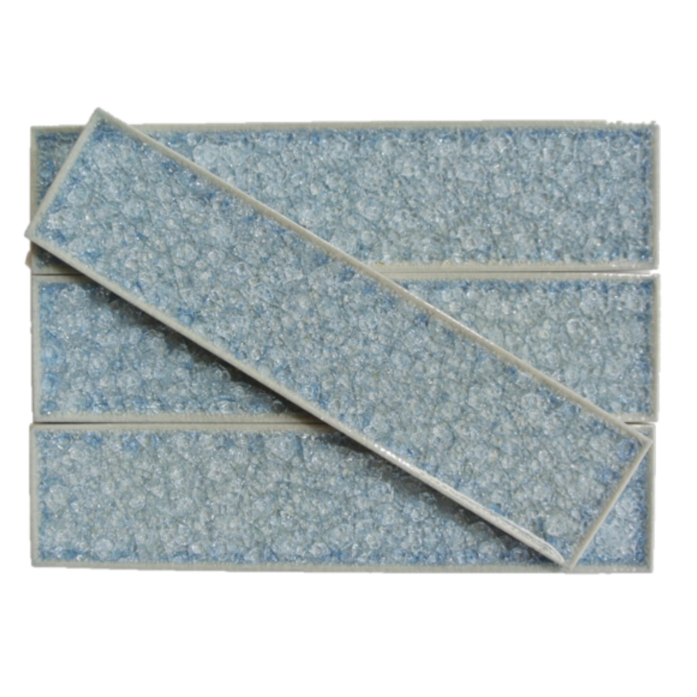 Roman Collection Brisk Blue 2x8 Glass Tile