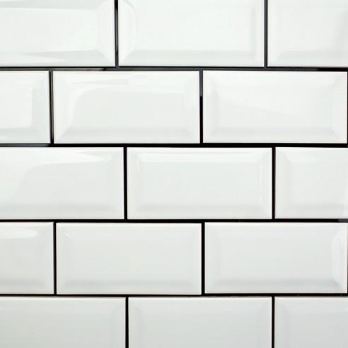 Basic 3x6 Beveled White Ceramic Tile