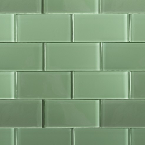 Shop For Loft Spa Green Polished 3x6 Glass Tile At Tilebar Com