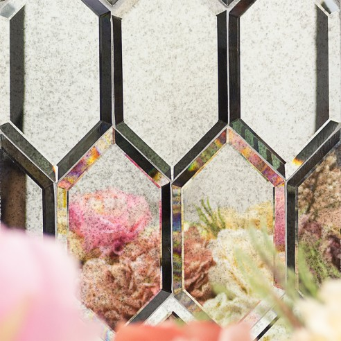 Shop For Beveled Paris Gray Hexagon Polished Glass Tile at ...