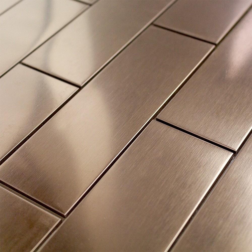 Shop 12 Pc Set Metal Subway Tiles In Matte Copper