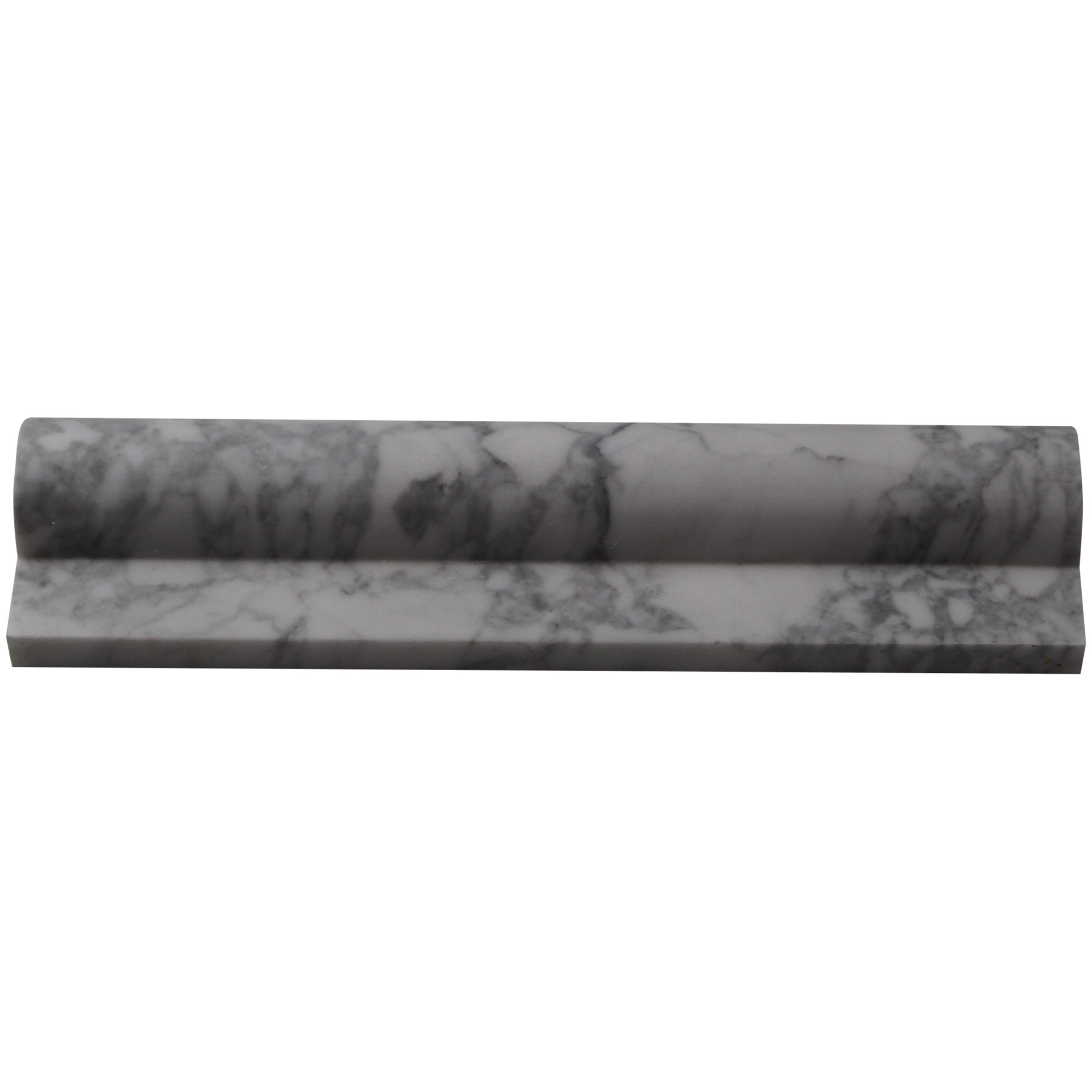 Brushed Stone White Carrera 2x8 Chair Rail Marble Liners