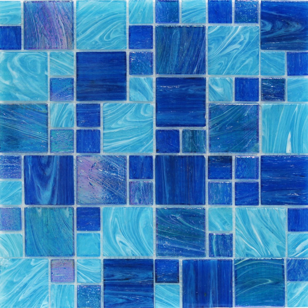 Shop For Aquatic Ocean Blue French Pattern Glass Tile At