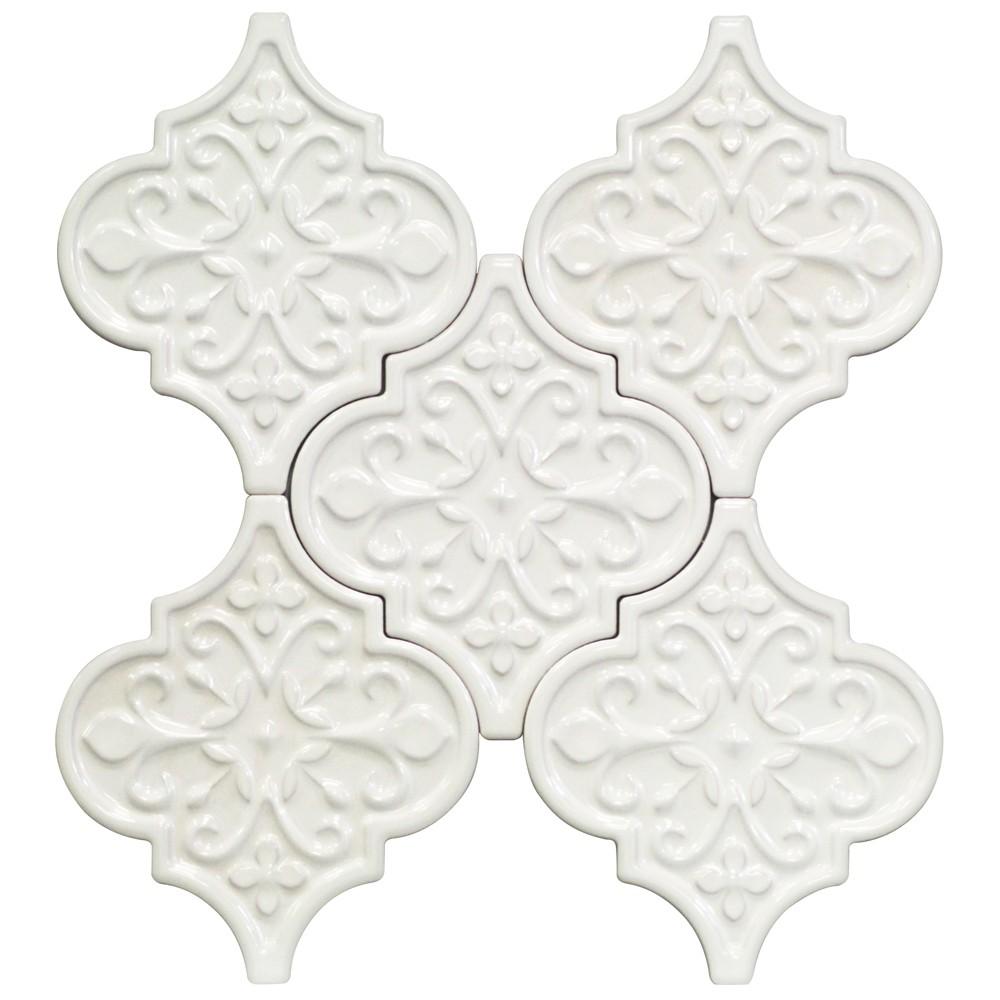 Byzantine Florid Arabesque Bianco Ceramic Tile