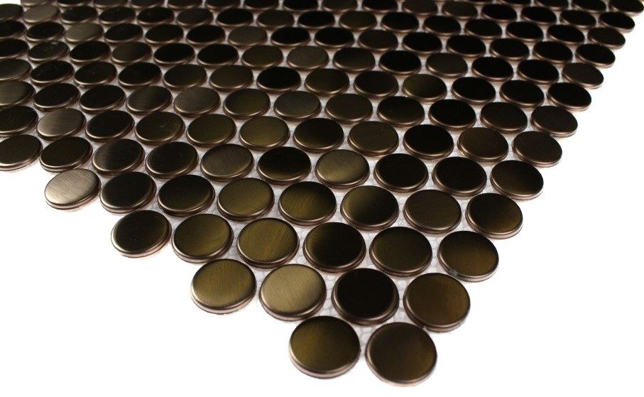 Shop 12x12 Metal Penny Round Tiles In Matte Copper