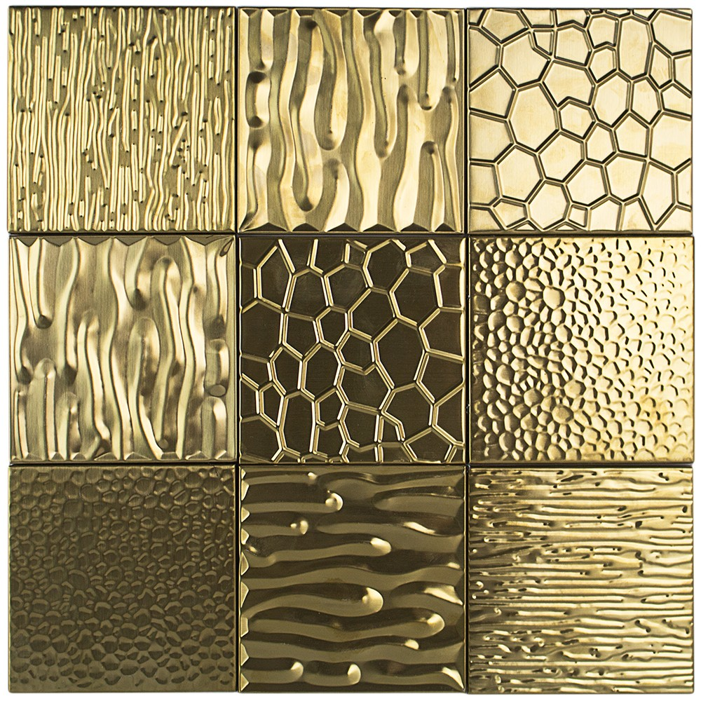 Metal Etched Gold Stainless Steel 4x4 Tiles