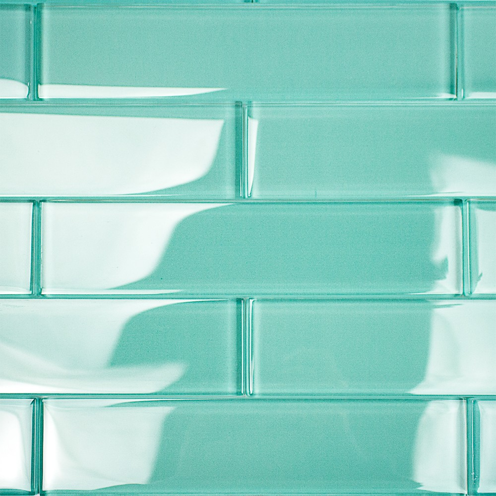 Shop For Loft Tea Green 2x8 Polished Glass Tiles At