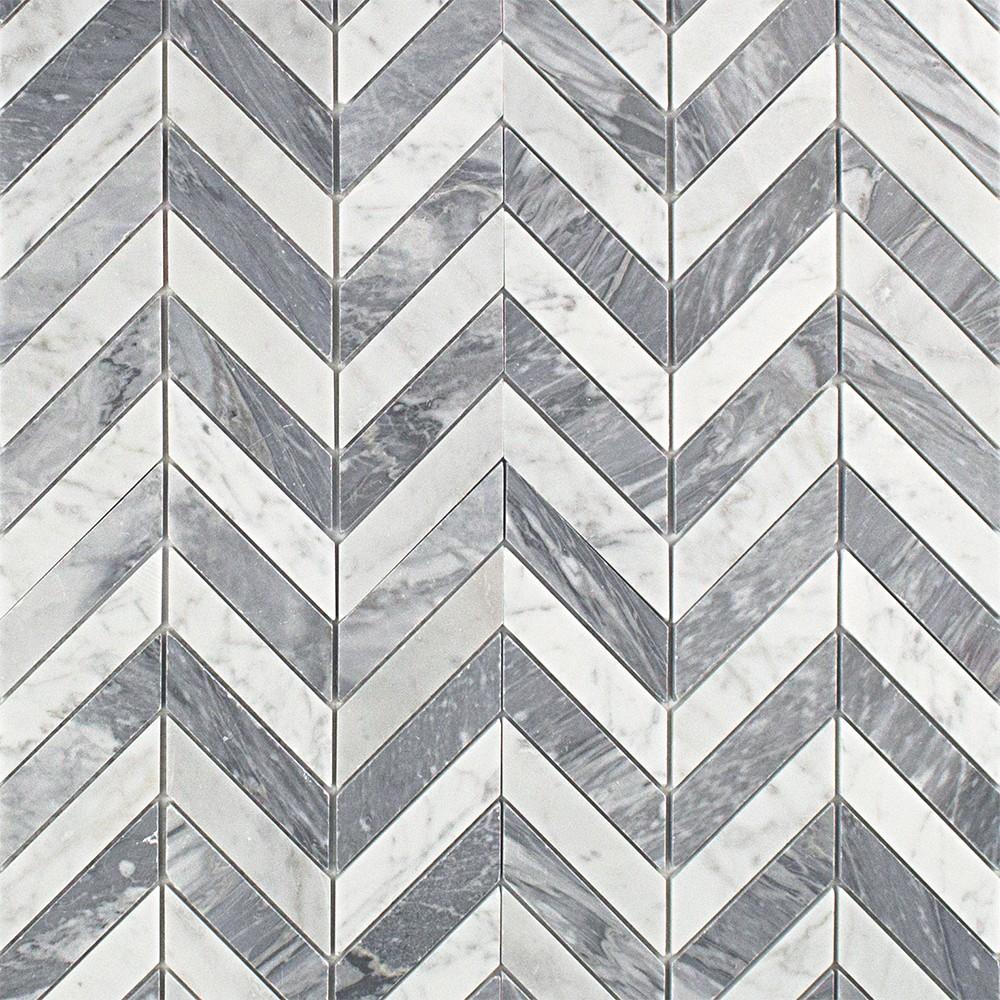 Talon White Carrera And Bardiglio Marble Tile