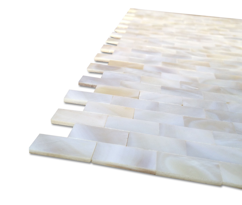 Shop 12 X 12 Serene White Bricks Groutless Polished Pearl