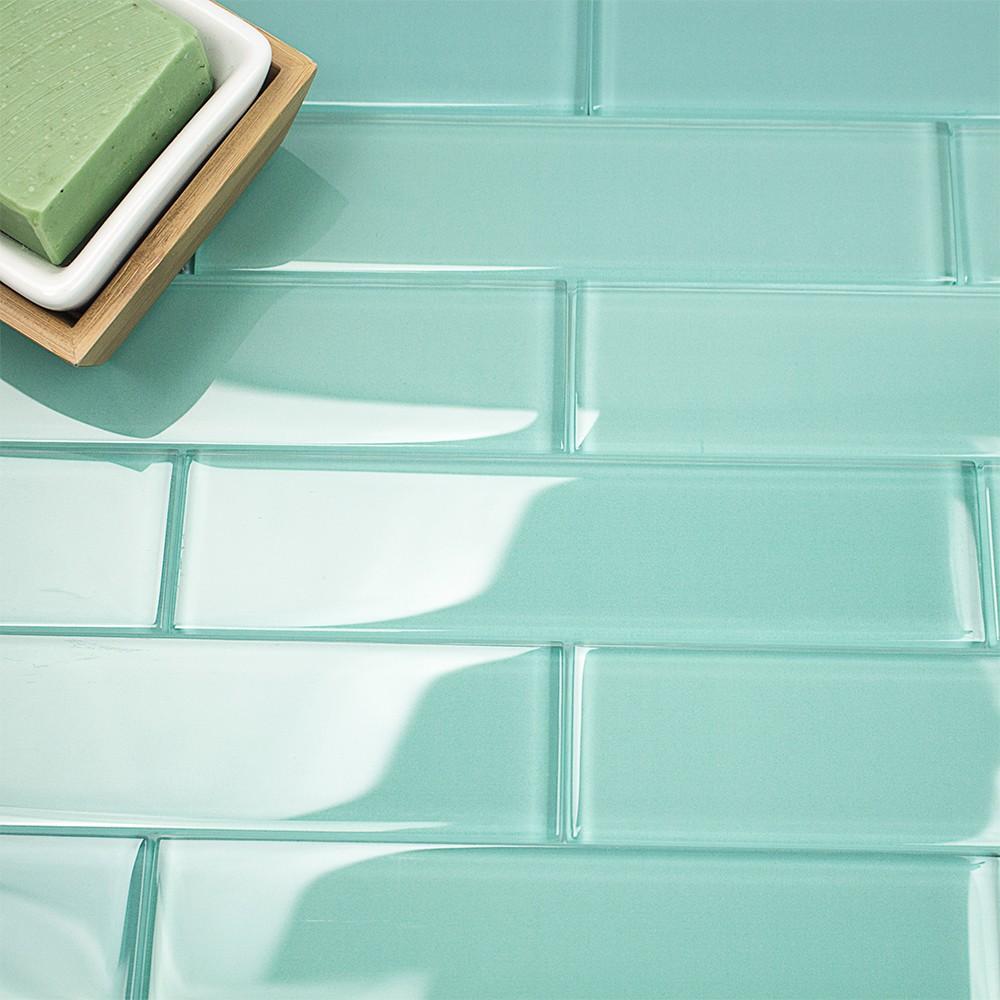 Shop For Loft Tea Green 2x8 Polished Glass Tiles At