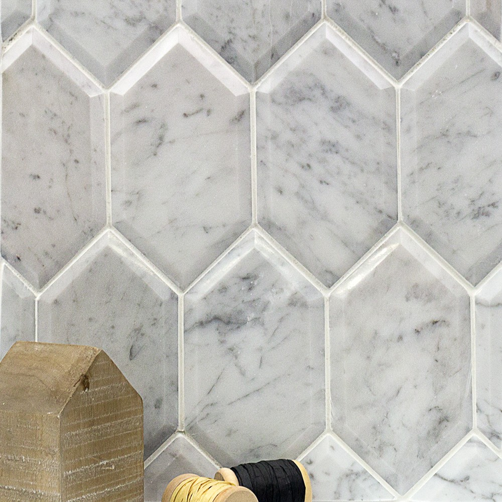 Shop For Beveled White Carrara Hexagon Polished Marble